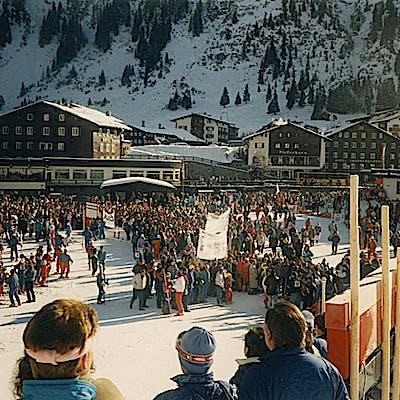 C Gemeindearchiv Lech 1988 01 Weltcup Super G Damen Foto Felix Weishaupl 2 Weltcup Lech c Felix Weishaupl Gemeindearchiv Lech