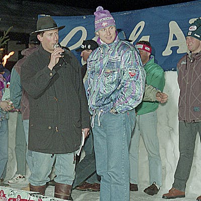 C Gemeindearchiv Lech 1993 12 21 Weltcup Herren Startnummernauslosung Foto Felix Weishaupl 8 c Felix Weishaupl Gemeindearchiv Lech
